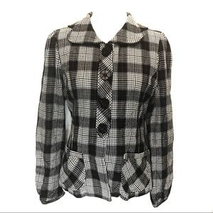 💎 Thread houndstooth plaid pockets blazer jacket